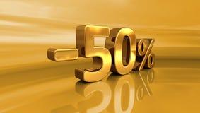 3d guld -50%, negativ femtio procent rabatttecken Arkivfoton