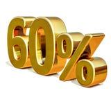 3d guld 60 sextio procentrabatttecken Royaltyfri Foto