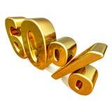3d guld 60 sextio procentrabatttecken Fotografering för Bildbyråer