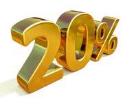 3d guld 20 tjugo procent rabatttecken Fotografering för Bildbyråer