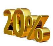 3d guld 20 tjugo procent rabatttecken Royaltyfri Fotografi