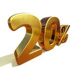 3d guld 20 tjugo procent rabatttecken Royaltyfria Foton