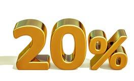 3d guld 20 tjugo procent rabatttecken Arkivbilder