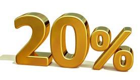 3d guld 20 tjugo procent rabatttecken Royaltyfria Bilder