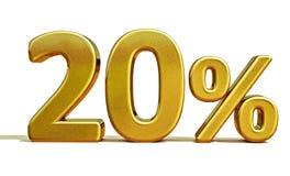 3d guld 20 tjugo procent rabatttecken arkivfoton