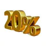 3d guld 20 tjugo procent rabatttecken Royaltyfri Bild