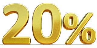 3d guld 20 tjugo procent rabatttecken Royaltyfri Foto
