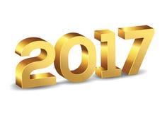 3D guld- vektornummer för lyckligt nytt år 2017 Royaltyfri Bild