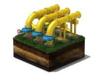 3d gulnar rörledningen med blåa ventiler på avsnitt av land, Royaltyfria Foton