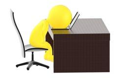3d gulnar teckenet som tröttas i arbetsplatsen vektor illustrationer