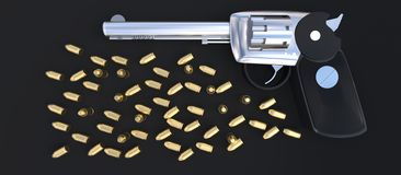 3d gun and bullets scattered around concept Royalty Free Stock Photo