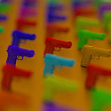 3d guns framework illustation. Close-up Low-poly pistol illustration, blurred colorful background royalty free illustration