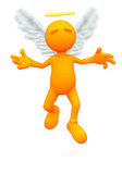 3d Guy: Angel Flying in Air. An extensive series of a 3d orange man, with a variety of props in all kinds of poses.  Good for uses where a specific person would Stock Photography