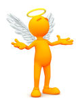 3d Guy: Angel Standing in Prayer. An extensive series of a 3d orange man, with a variety of props in all kinds of poses.  Good for uses where a specific person Royalty Free Stock Photography