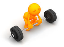 3d Guy: Attempting to Lift Barbell Stock Photo