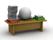 3D Man with Full Inbox. A 3d guy at a desk, with his inbox full of papers Royalty Free Stock Photo