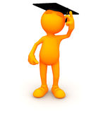 3d Guy: Graduate Moving Tassle. An extensive series of a 3d orange man, with a variety of props in all kinds of poses.  Good for uses where a specific person Royalty Free Stock Photography