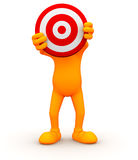 3d Guy: Hiding Behind a Bullseye Stock Images