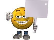 3D Guy Holding Blank Placard. 3D Character Holding Blank Shaded Placard Stock Photography