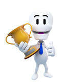 3d guy holding golden trophy doing ok Royalty Free Stock Image