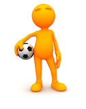 3d Guy: Holding a Soccer Ball Royalty Free Stock Photos