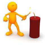 3d Guy: Lighting a Firecracker Stock Images