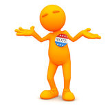 3d Guy: Man Unsure of Who to Vote For. An extensive series of a 3d orange man, with a variety of props in all kinds of poses.  Good for uses where a specific Stock Photography