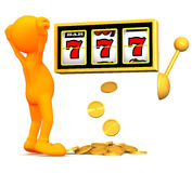 3d Guy: Man Wins Big On Slot Machine Royalty Free Stock Images