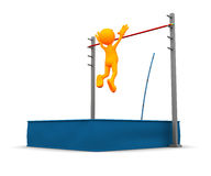 3d Guy: Over the Top of Pole Vault Royalty Free Stock Photos