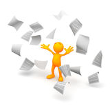 3d Guy: Papers Blowing Everywhere Royalty Free Stock Images