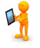 3d Guy: Pointing to Tablet Computer Royalty Free Stock Images