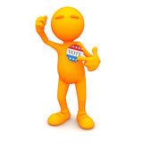 3d Guy: Pointing to Vote Button. An extensive series of a 3d orange man, with a variety of props in all kinds of poses.  Good for uses where a specific person Stock Image
