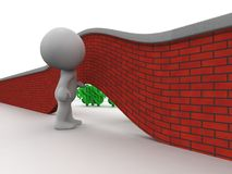 3D Man Looking under wall to money on other side Royalty Free Stock Photos