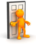 3d Guy: Ready to Open A Door Stock Photography