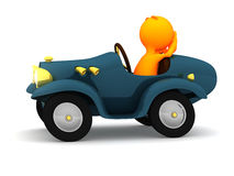 3d Guy: Reckless Driver with Hands Off Wheel. An extensive series of a 3d orange man, with a variety of props in all kinds of poses.  Good for uses where a Royalty Free Stock Photo