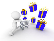 3D guy running with shopping cart through stack of wrapped gifts. A 3d guy running with a shopping cart and scattered wrapped gift boxes Royalty Free Stock Image