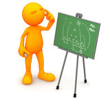 3d Guy: Scratching Head Over Football Strategy Royalty Free Stock Photo