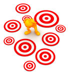 3d Guy: Standing Amid Targets Waiting to Be Hit Royalty Free Stock Image