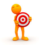 3d Guy: Standing Behind a Bullseye Stock Image