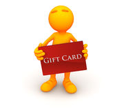 3d Guy: Standing with a Gift Card Stock Photo
