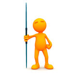 3d Guy: Standing with Javelin Royalty Free Stock Photography