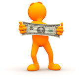3d Guy: Stretching Your Money Royalty Free Stock Image