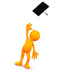 3d Guy: Throwing Mortarboard into Air Royalty Free Stock Images