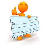 3d Guy: Thumbs Up with Blank Check Royalty Free Stock Image