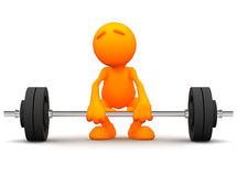 3d Guy: Trying to Lift Barbell. An extensive series of a 3d orange man, with a variety of props in all kinds of poses.  Good for uses where a specific person Royalty Free Stock Images