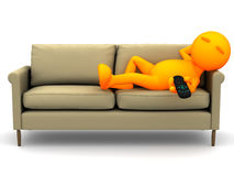 3d Guy: Watching Television Lying Down Royalty Free Stock Photo