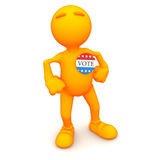 3d Guy:Wearing Vote Button For Election. An extensive series of a 3d orange man, with a variety of props in all kinds of poses.  Good for uses where a specific Stock Image