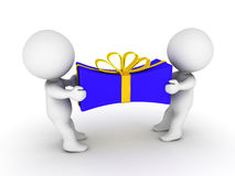 3D Guys Pulling on Wrapped Gift Royalty Free Stock Photos