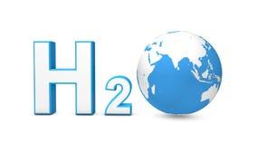 3d H2O com o globo de giro da terra ilustração do vetor