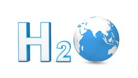 3d H2O with spinning earth globe stock video footage